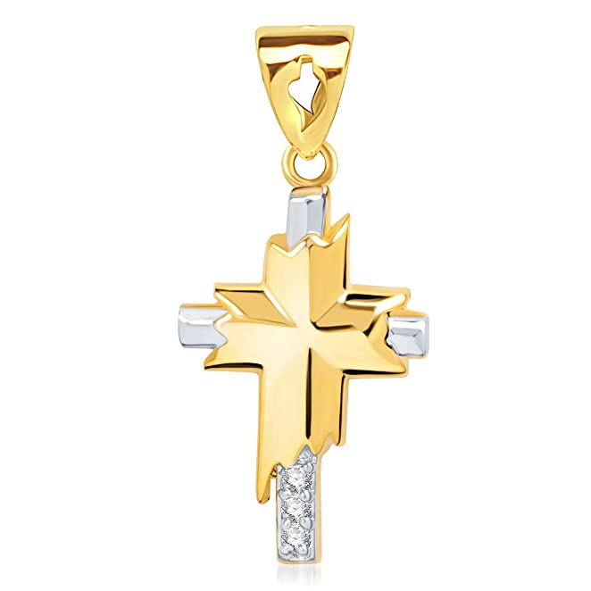 Vina Two Tone Cross Gold and Rhodium Plated Alloy God Pendant with Chain for Men &amp; Women made with Cubic Zirconia - P1249G [VKP1249G] <span at amazon
