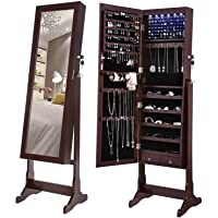 SONGMICS 6-LED Jewelry Cabinet, Lockable Mirrored Standing Jewelry Armoire Organizer, Brown UJJC94K