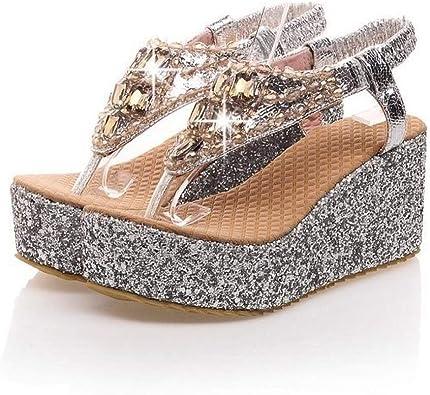 Womens Rhinestones Open Toe Wedge Heels Platform Shoes Slippers Sequins Girls