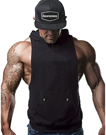 edadef3885354c Daupanzees Mens Workout Hooded Tank Tops Sleeveless Gym Hoodies with Kanga  Pocket Cool and Muscle Cut