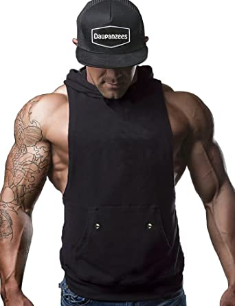 c0fd1c31ad24d Amazon.com  Daupanzees Mens Workout Hooded Tank Tops Sleeveless Gym Hoodies  with Kanga Pocket Cool and Muscle Cut  Clothing