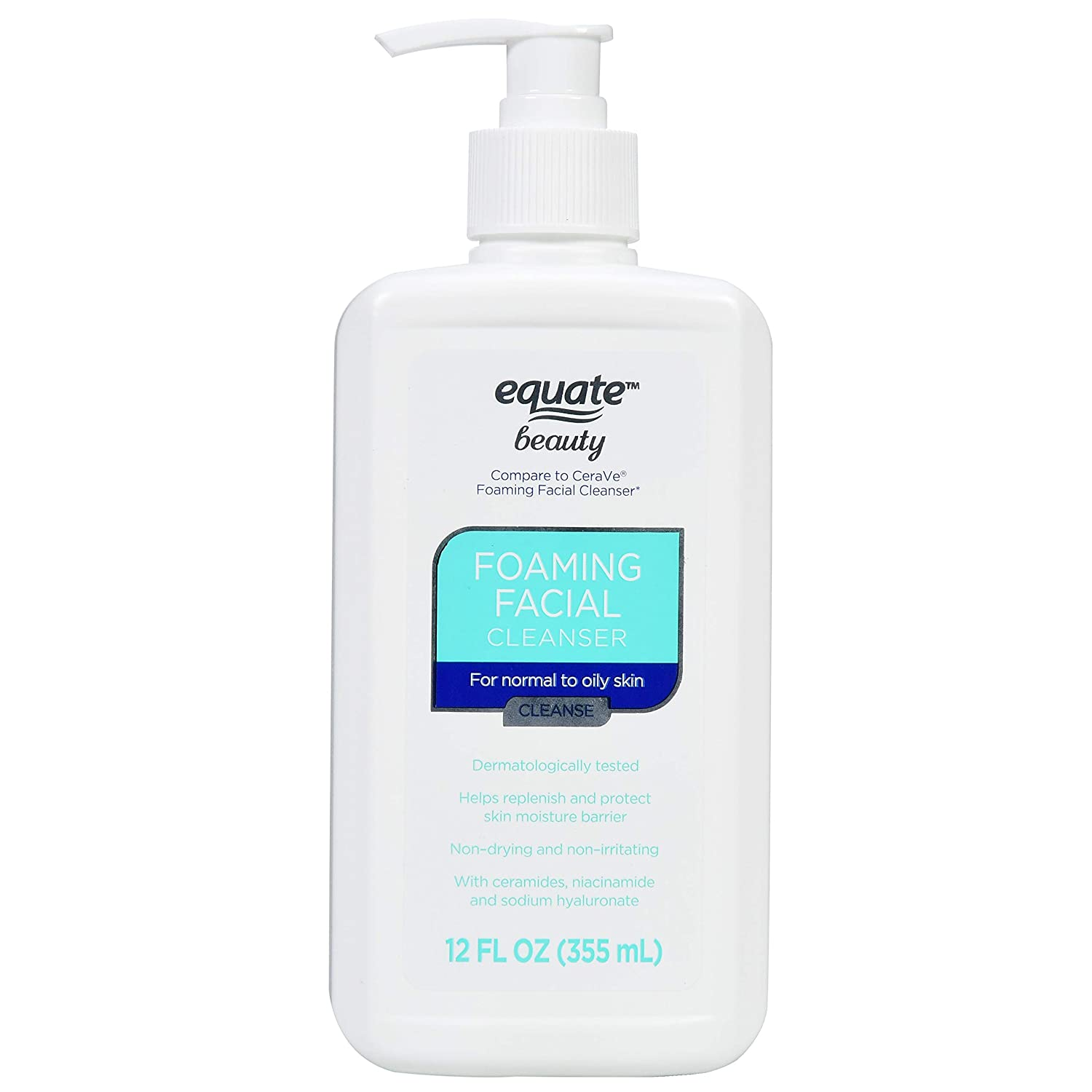 Equate Beauty Foaming Facial Cleanser, Normal to Oily Skin, 12 fl oz
