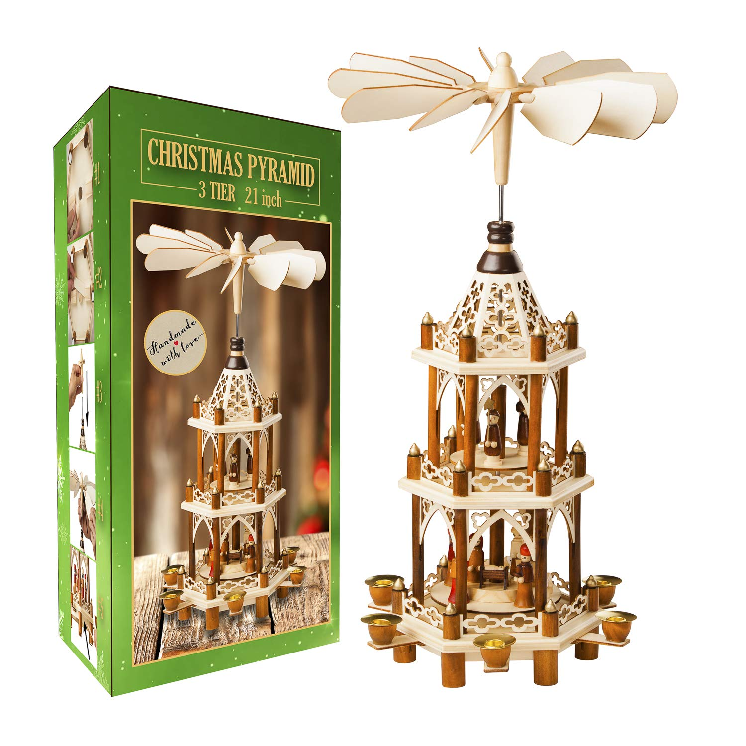 German Christmas Decoration Pyramid - 21 Inches - Wood Nativity Scene Set - Under the Christmas Tree and Table Top Holiday Decor - Nativity Play 3 Tiers Carousel with 6 Candle Holders - German Design by USA SUPREME