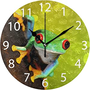 senya Red-Eye Tree Frog Design Round Wall Clock, Silent Non Ticking Oil Painting Decorative for Home Office School Clock Art