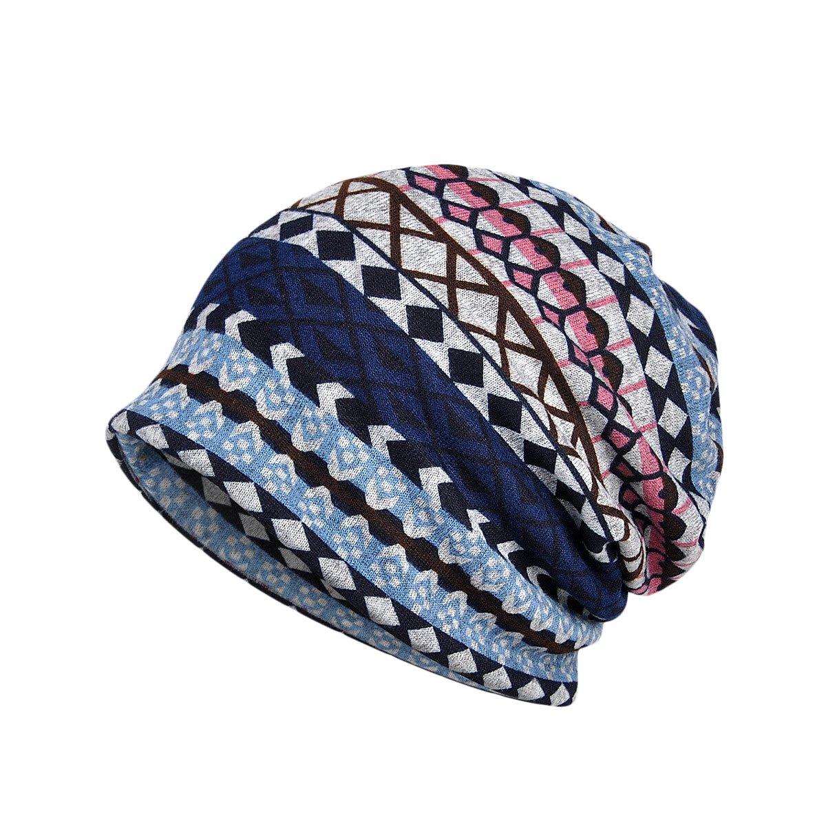 TININNA Multifunzione Unisex Invernali Caldo Plaid Sciarpa Scaldacollo Copricapo Lavorato a maglia Berretto da Sci Beanie Hat(Blu)