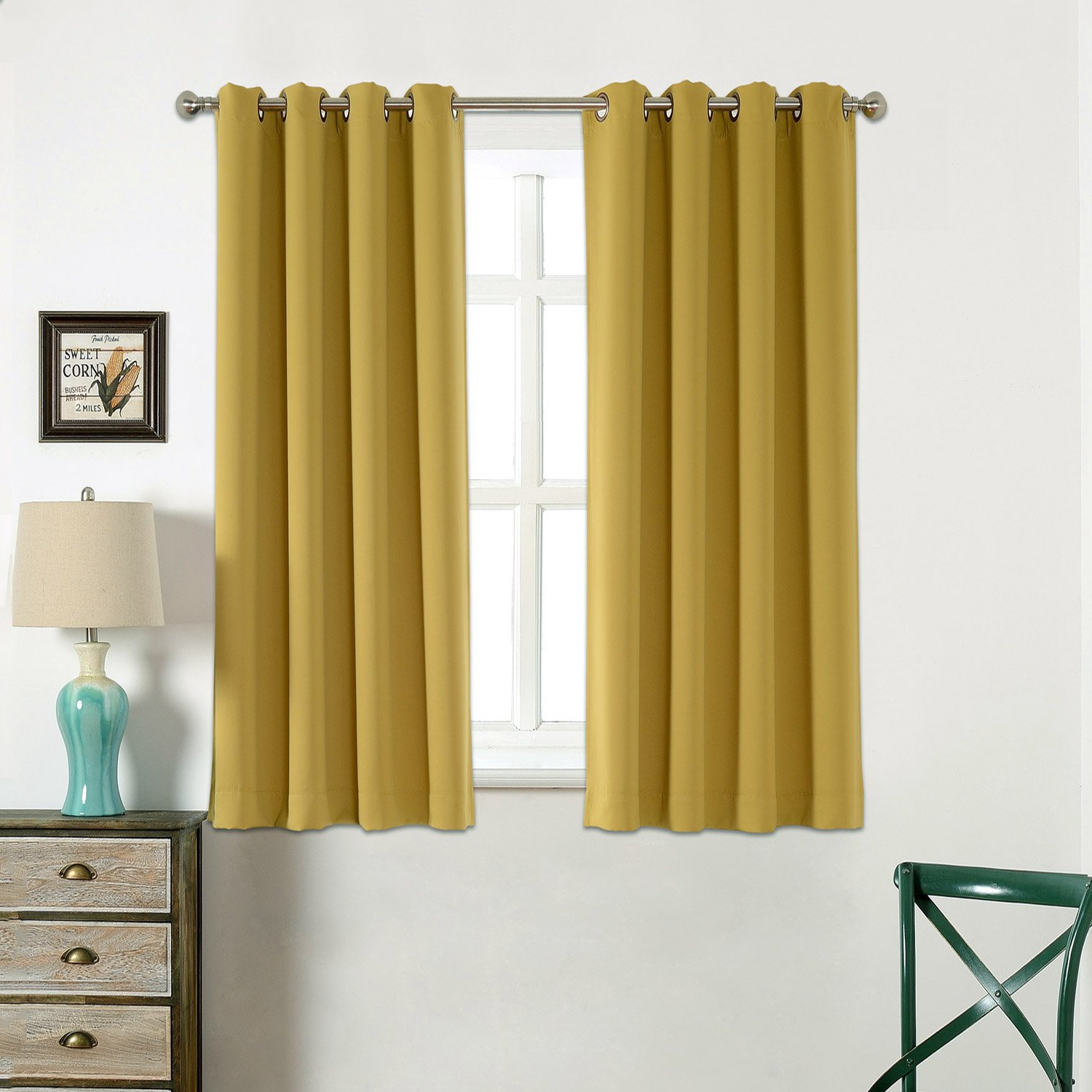 AMAZLINEN Sleep Well Blackout Curtains Toxic Free Energy Smart Thermal Insulated Olive Yellow