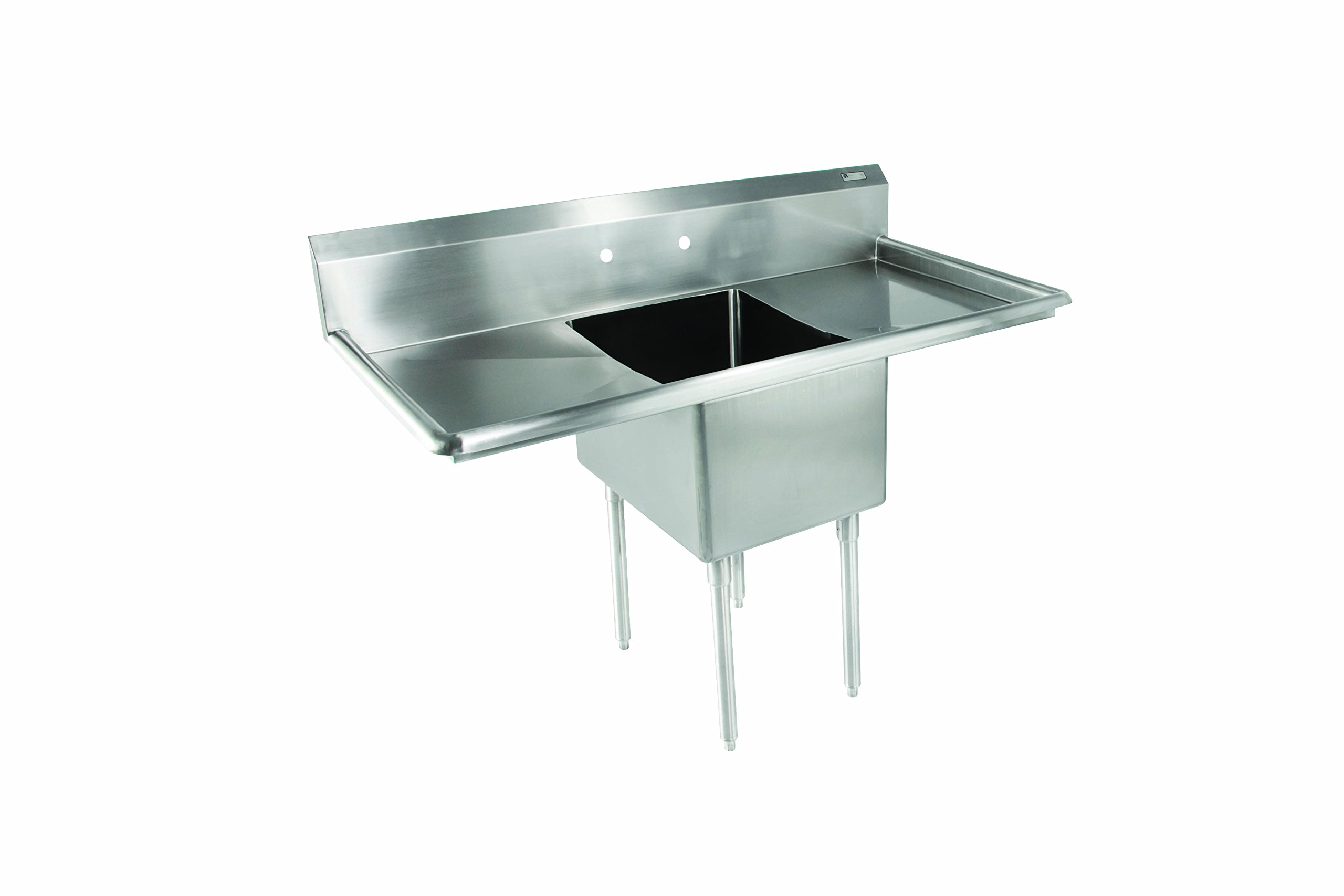 John Boos E Series Stainless Steel Sink, 12'' Deep Bowl, 1 Compartment, 18'' Left and Right Hand Side Drainboard, 52'' Length x 25-1/2'' Width