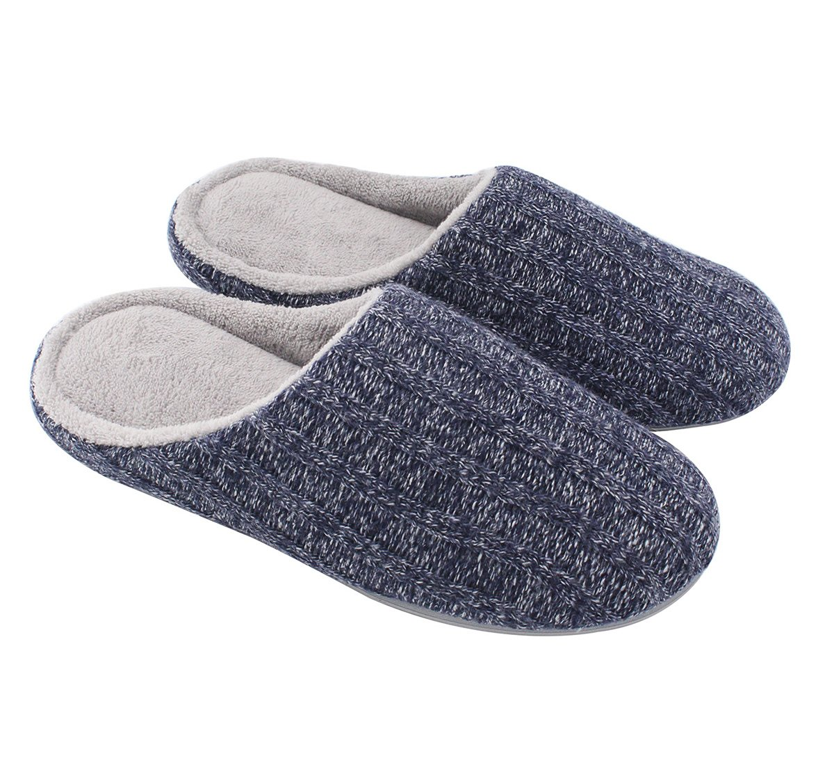 HomeIdeas Women's Cashmere Cotton Knitted Anti-slip House Slippers, Winter Breathable Indoor Shoes , Navy Blue , Large / 9-10 B(M) US