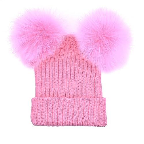 Casquillo del sombrero de la bola del pelo doble - Sombrero de punto del invierno Casquillo del esqu...