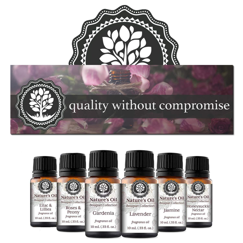 Nature's Oil Floral Set of 6 Premium Grade Fragrance Oils - Lavender, Gardenia, Rose, Jasmine, Honeysuckle, Lilac & Lillies - 10ml