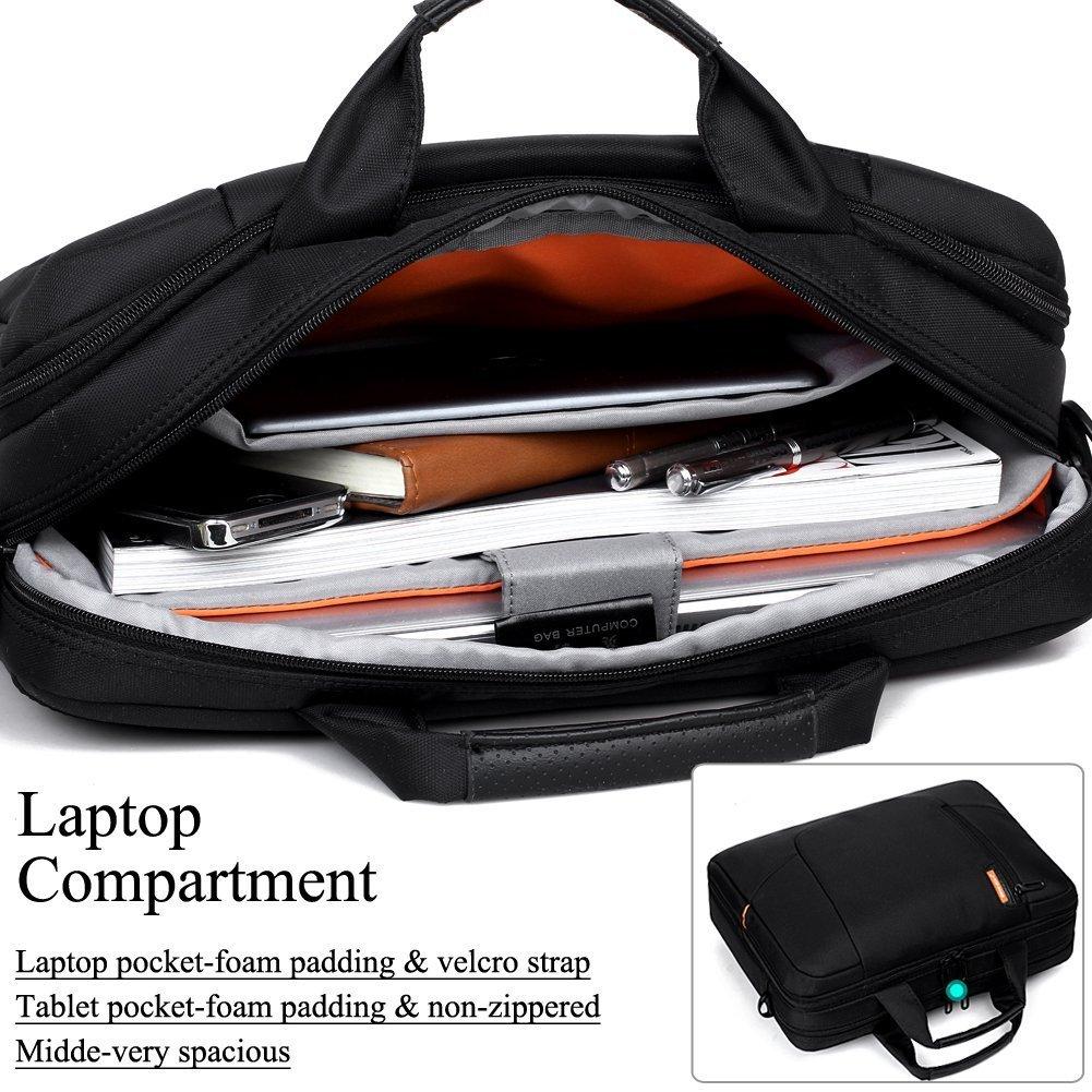 Brinch Borsa per Laptop Antiurto in soffice Nylon con Tasca per Computer Portatile da 15.6 Pollici Borsa per Computer con Tasche per Manico e tracolle Rimovibili,Nero(Black)