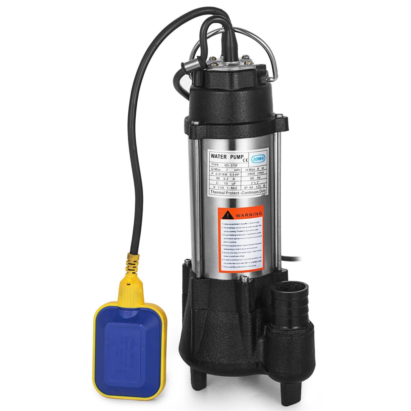 Vinbero 110V 1/2HP Sewage Pump 304SS 26FT Max Head Lift 3170 GPH Max Flow Pump With 20FT Cable & Plug Heavy Duty Cast steel Sewage Pump