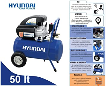 Compresor 50lt. de aceite con ruedas neumáticas Hyundai - Bama: Amazon.es: Bricolaje y herramientas