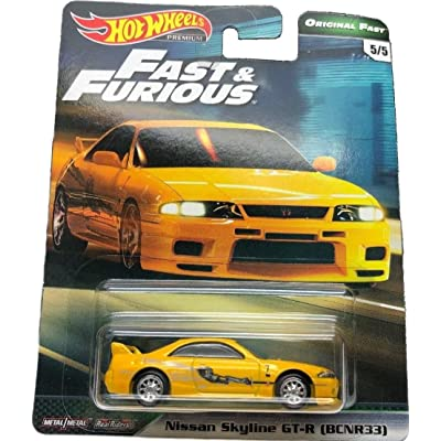 Hot Wheels Compatible Nissan Skyline GT-R (BCNR33) Yellow 5/5 Premium 2020 Real Riders Fast & Furious Series 1:64 Scale Collectible Die Cast Model Car: Toys & Games