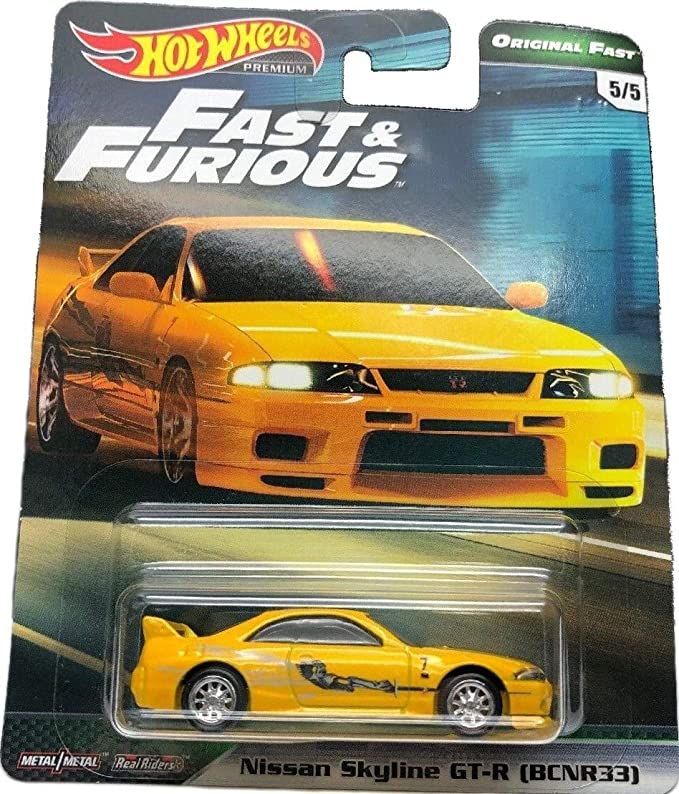 amazon com hot wheels compatible nissan skyline gt r bcnr33 amarillo 5 5 premium 2019 real riders fast furious series 1 64 escala coleccionable die cast model car toys games hot wheels compatible nissan skyline gt