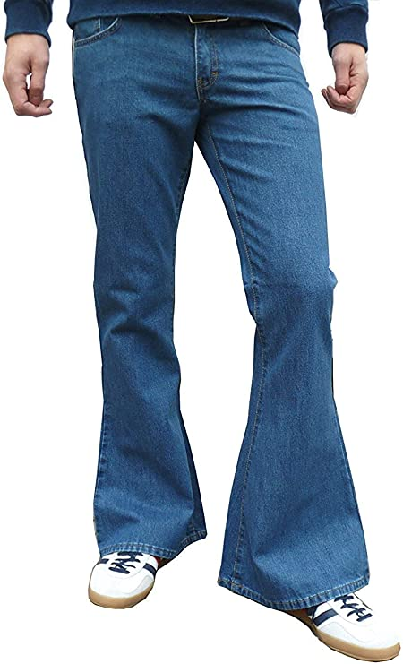 Men's Vintage Pants, Trousers, Jeans, Overalls Fuzzdandy Mens Stonewashed Flares Bell Bottoms Denim Jeans Hippie Indie Flared Trousers £36.60 AT vintagedancer.com