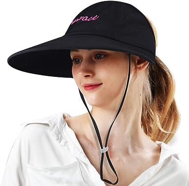 Sun Visor Hats Women Large Wide Brim UV Protection Summer Beach Cap Visors  for Women Black at Amazon Women's Clothing store