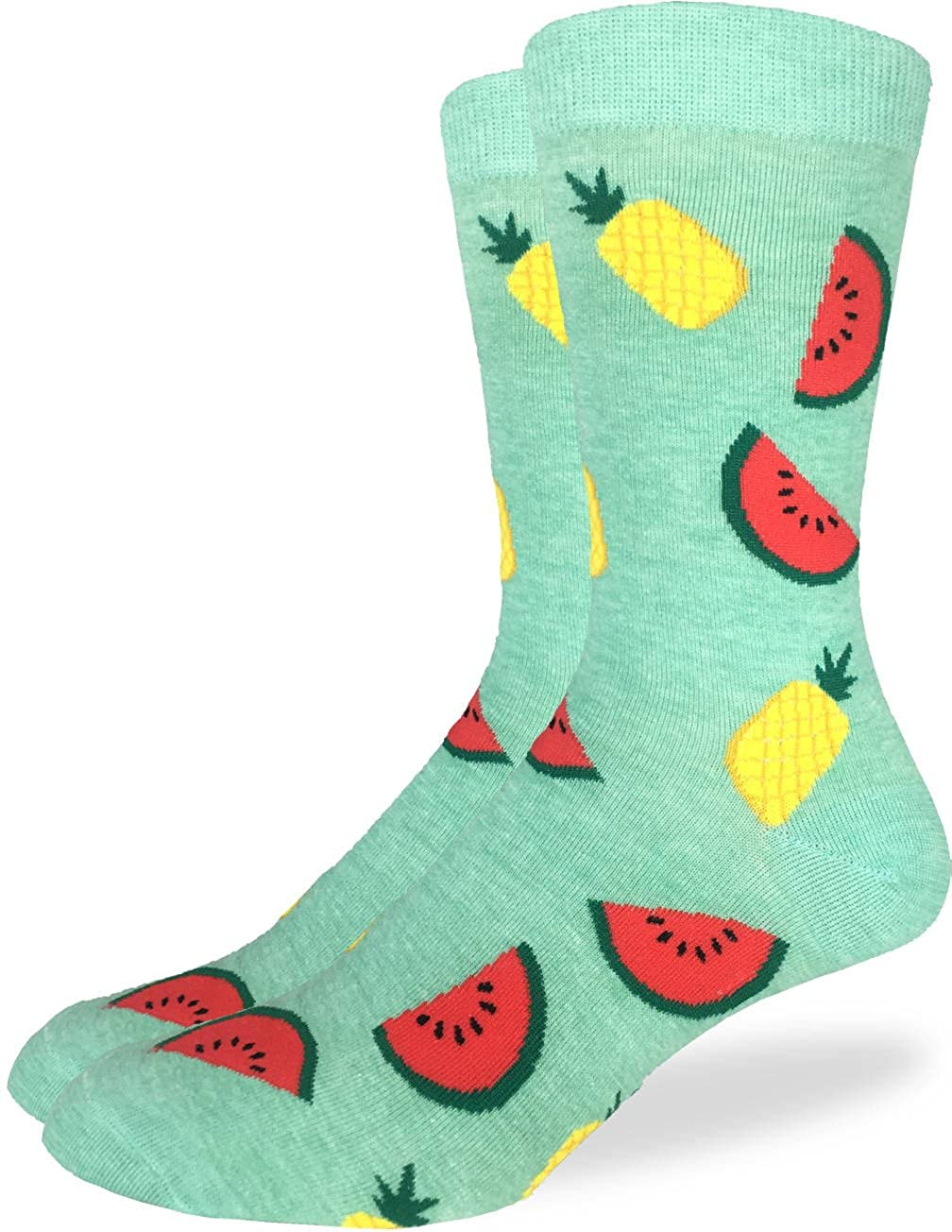 Good Luck Sock Men's Pineapples & Watermelons Crew Socks Green, Shoe size 7-12 1241