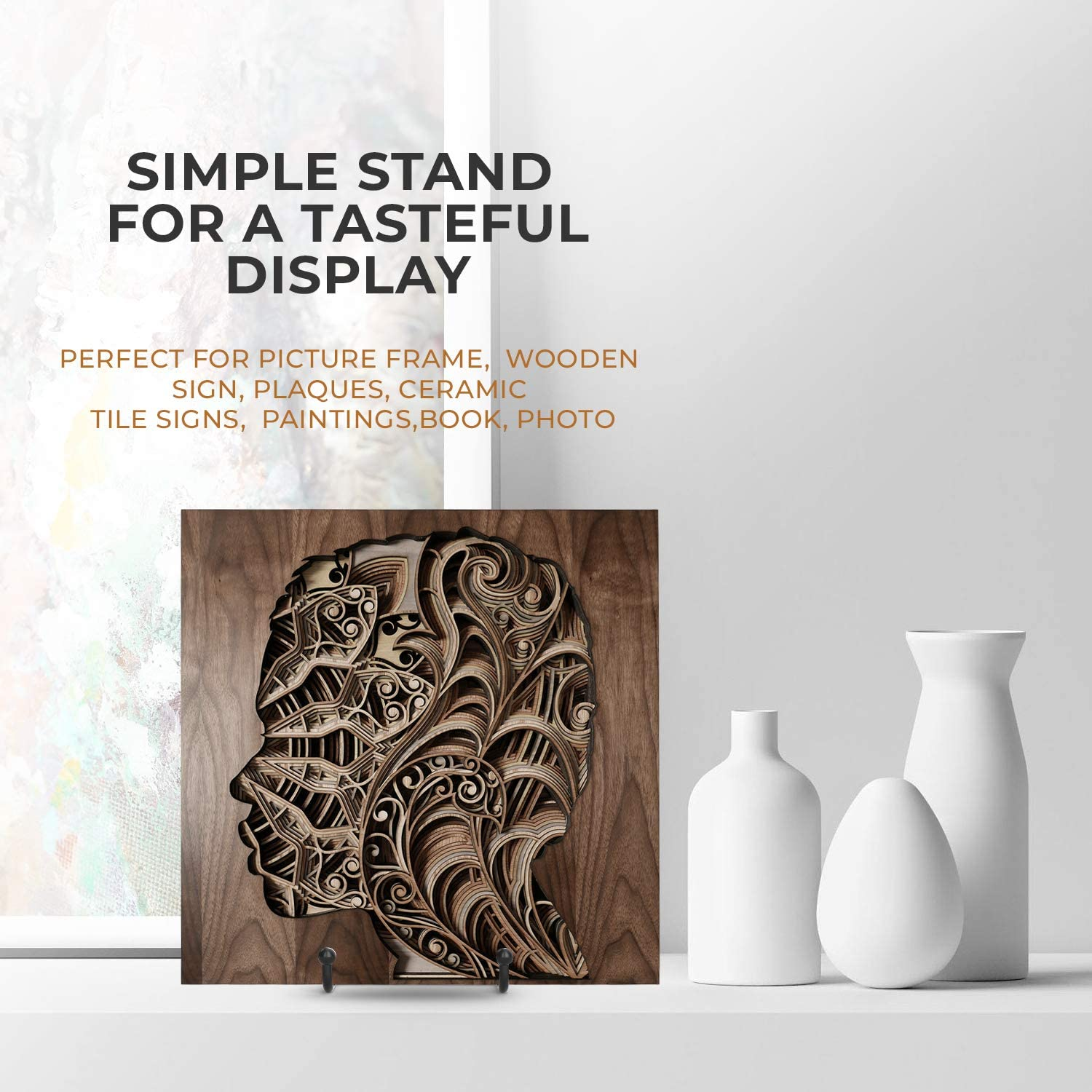 2 Pack Decorative Plate 6 Inch Plate Holder Display Stand Photo Easel Metal Frame Holder Stand for Picture TR-LIFE Plate Stands for Display Book