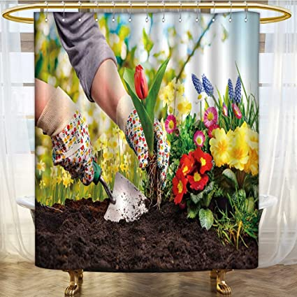 AmaPark Mildew Resistant Fabric Shower Curtains Gardenerss Plant Flowers At Back Yard Free No Fade