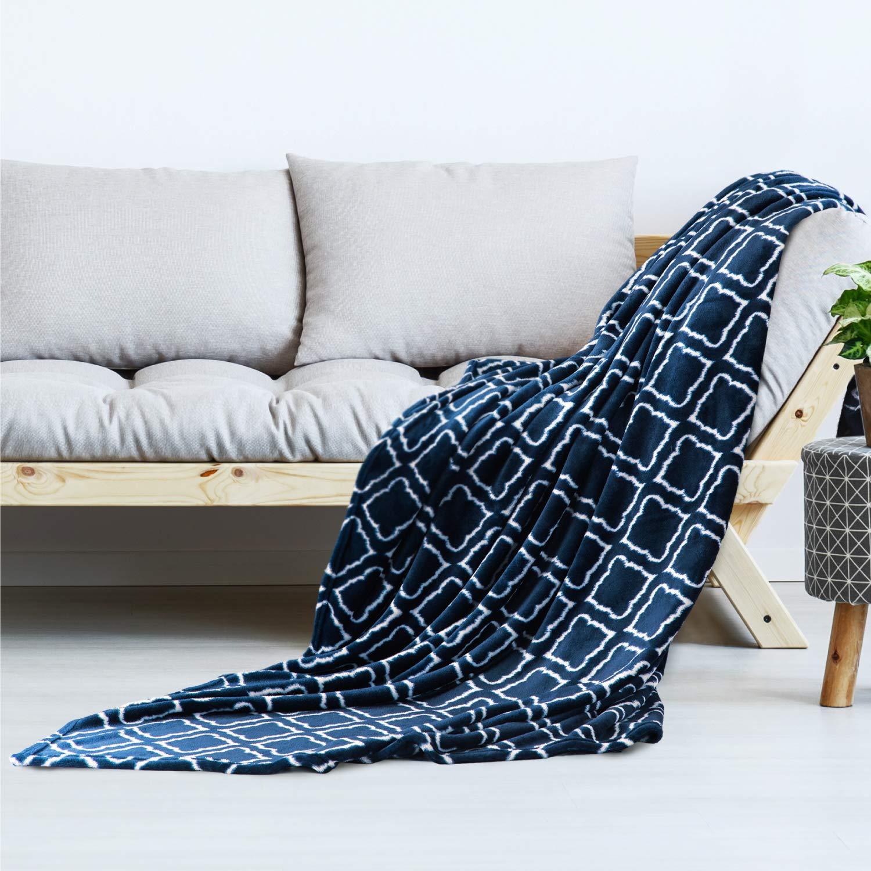 Bedsure Manta para sofá y Cama patrón de celosía, Azul Marino - Manta esponjosa Super Suave 220x240cm - Manta Borreguillo de Lana para Viajes, Picnic ...