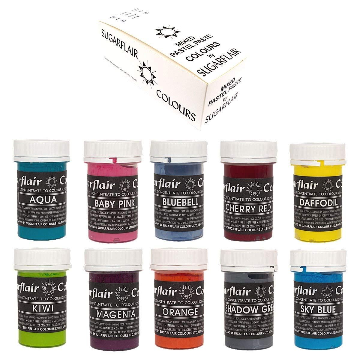 Sugarflair Concentrated Food Colours - Mixed Set of 10 PASTEL Pastes Prepacked by Sugarflair
