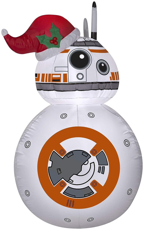 Gemmy Airblown Inflatable -BB-8 w/Santa Hat Star Wars 3.5 ft Tall