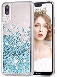 wlooo Handyhülle Huawei P20 Glitzer Hülle, Flüssig Bewegende Treibsand Fließend Flüssigkeit Glitter Quicksand Transparent Silikon Weich TPU Bumper Luxury Bling Original Schutzhülle Case