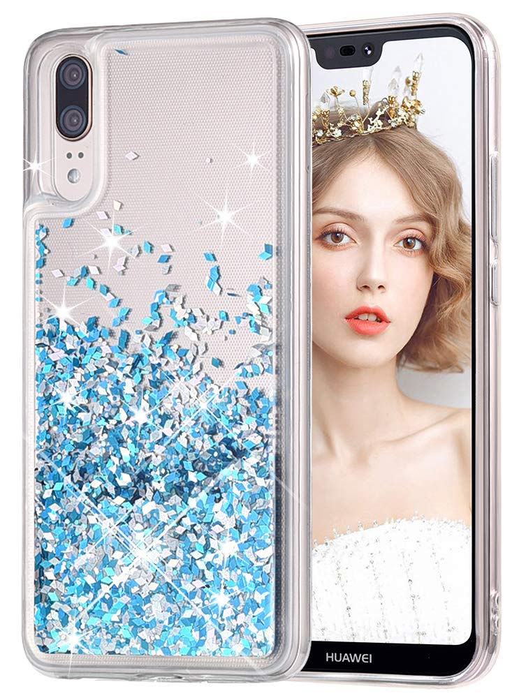 wlooo Handyhülle Huawei P20 Glitzer Hülle, Glitzer Süße Flüssig Bewegende Treibsand Handyhülle Fließend Flüssigkeit Funkeln Glitter Quicksand Handyhülle Clear Transparent Silikon Weich TPU Bumper Smartphone Handyhülle Luxury Mode 3D Bling Cute Original Sch