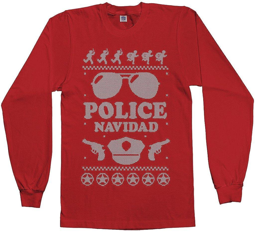 amazoncom threadrock mens police navidad ugly sweater long sleeve t shirt clothing - Descendents Christmas Sweater
