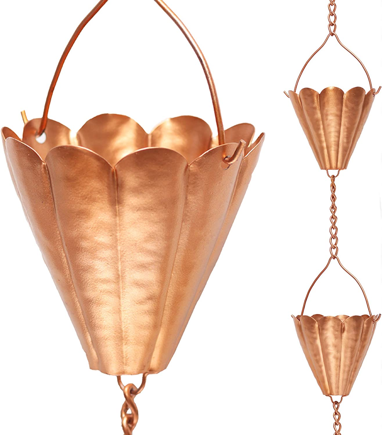 Arca Rain Chain - Copper Colored Iron Rain Chain for Gutters - 8-1/2- Feet Length Modern Gold Rain Catcher for Downspout of Roof Corner - DIY Downspout with Unique and Decorative Garden Accessory