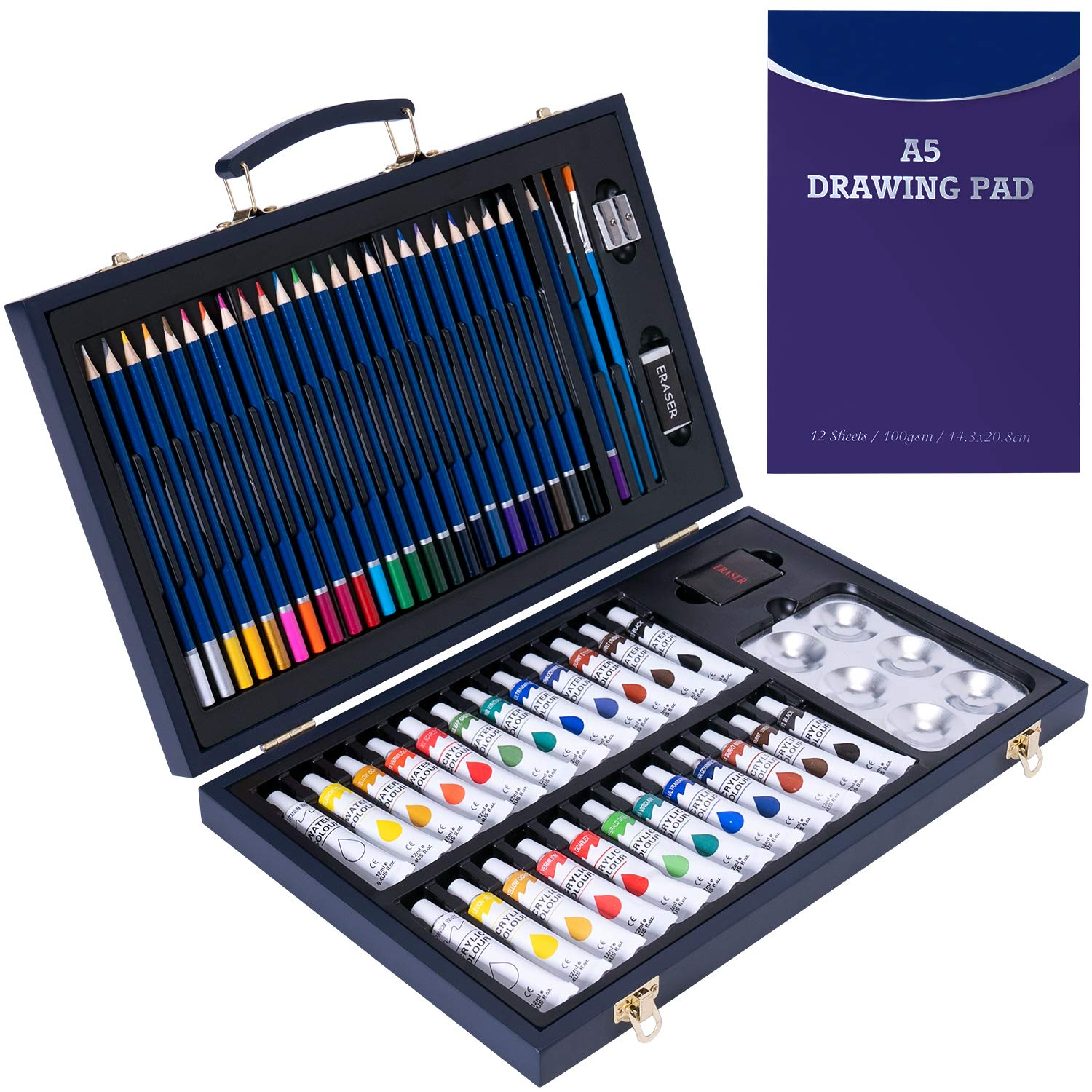 56 Piece Professional Art Set Deluxe Art Set in Portable Wooden Case-Painting & Drawing Set Professional Art Kit with 1 Drawing Pad for Kids, Teens and Adults/Gift …