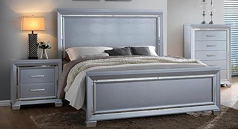 Soflex Jenny Silver Crocodile Texture Bedroom Set 2 Pcs Traditional  Contemporary (King)