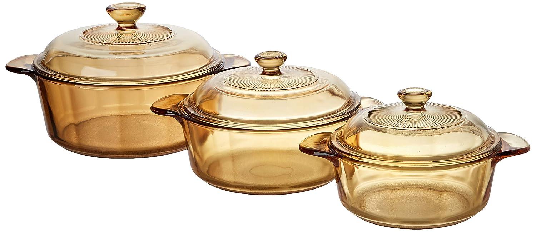 VISIONS - Juego de ollas de 6 Piezas, de Vidrio Pyroceram, Modelo Versa, con Tapa de Vidrio y Tapa de plástico, Color marrón