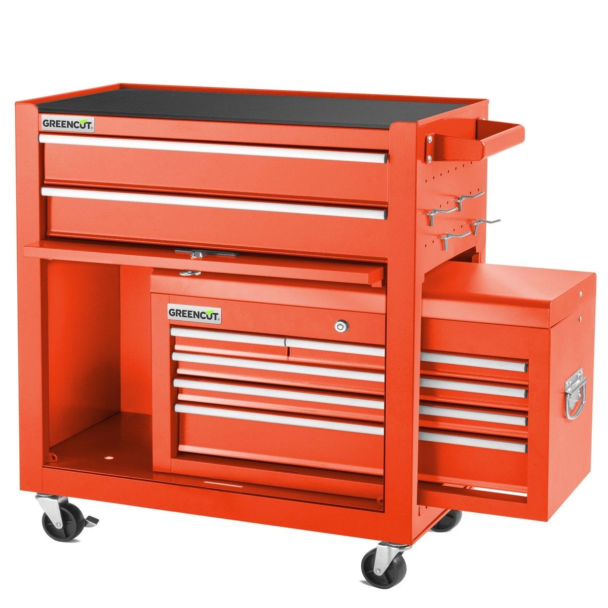 Greencut HEC1075R Carro para Herramientas Pro Armario Acero 4 Ruedas 10 Cajones Rojo: Amazon.es: Bricolaje y herramientas