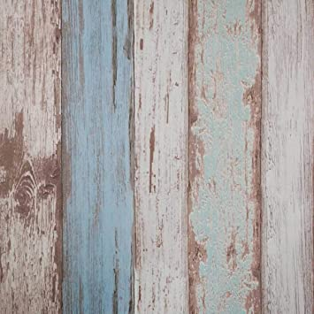 3D DISTRESSED WOOD STICKY BACK PLASTIC FEATURE WALL WALLPAPER VINTAGE STRIPED UK