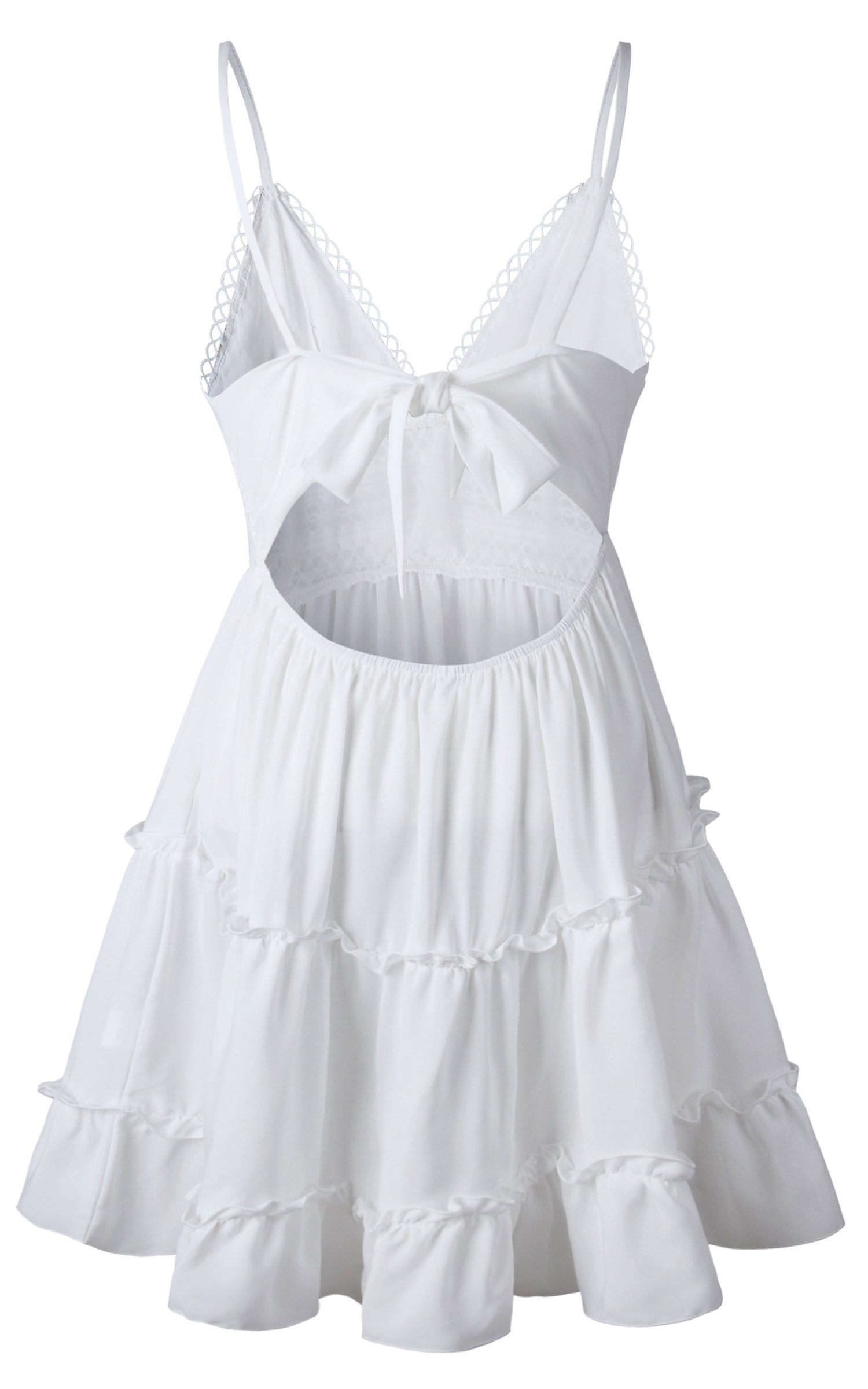 586f6b794b83 ECOWISH Womens V-Neck Spaghetti Strap Bowknot Backless Sleeveless Lace Mini  Swing Skater Dress White S - EH568 W S   Dresses   Clothing