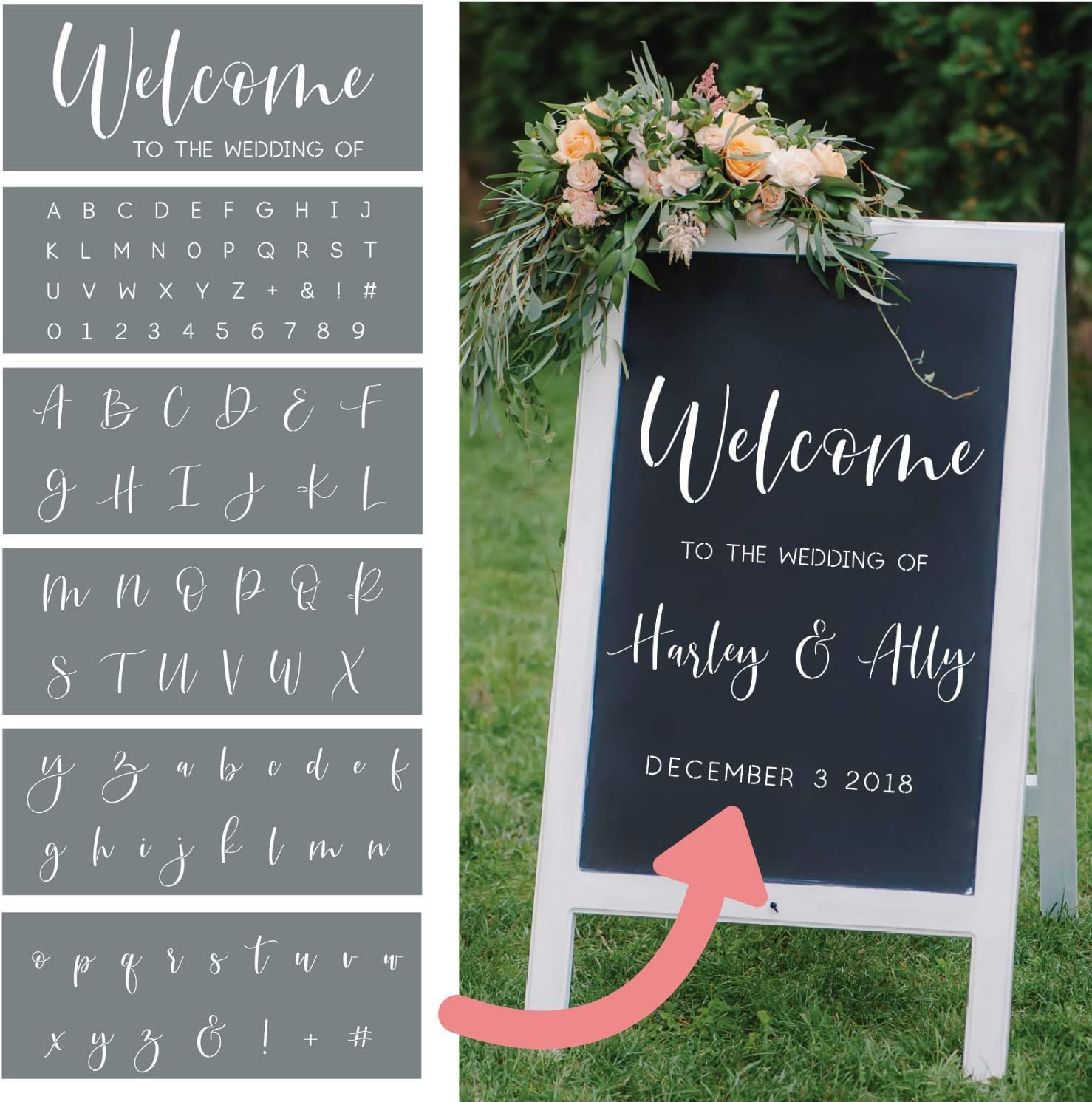 Metal Surfaces  WW922 Bride /& Groom Names with Date Wedding STENCIL for DIY Personalizing Runners Glass Walls Posters Floors Signs