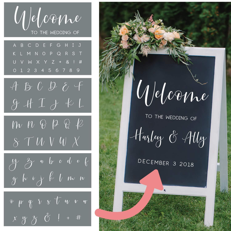 I like that lamp Wedding Stencils - Set of 6 Reusable Alphabet Stencils for Making Custom DIY Wedding Decorations - Easy Wedding Letter Stencils in a Modern Script Stencil Font