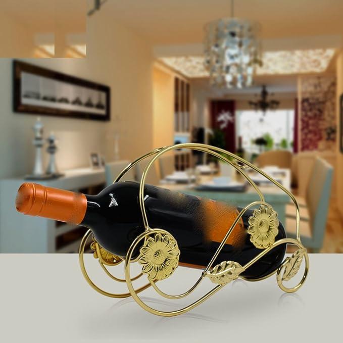 Botelleros Wkaijc Estante Del Vino Alambre Arte Girasol Estante Del Vino Rojo Exquisito Casero Creativo Manera Simple Ornamentos,Gold Artículos y equipo de servicio para la restauración