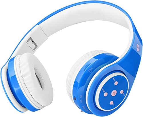 Kids Headphones Bluetooth Wireless 85db Volume Limited Childrens Headset, up to 6-8 Hours Play, Stereo Sound, SD Card Slot, Over-Ear and Build-in Mic Wireless Wired Headphones for Boys Girls Blue