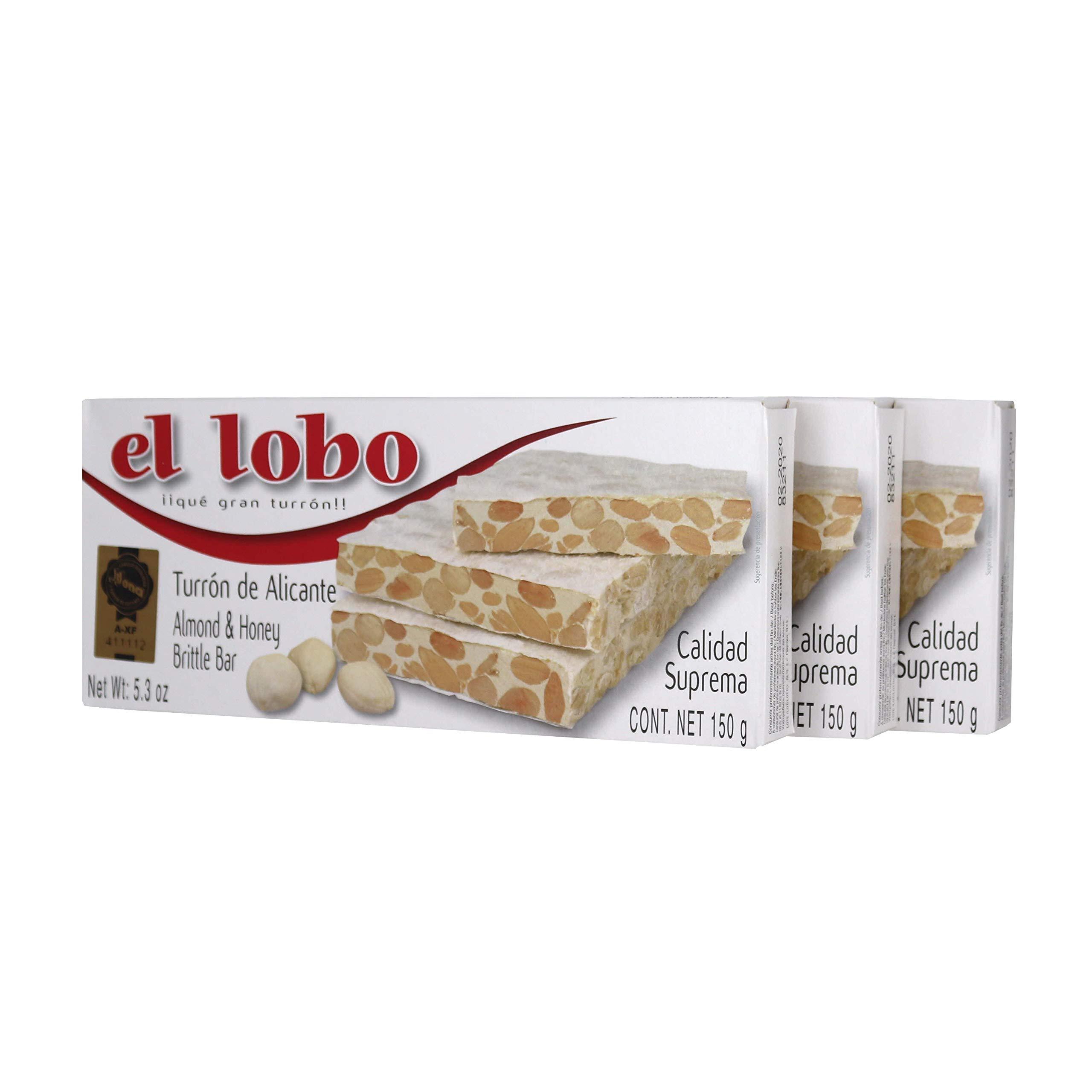 El Lobo Turron Alicante Crunchy Nougat - (3 Pack) W/ Quick Storage Pouch by El Lobo