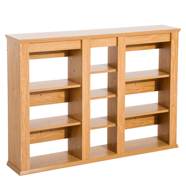 HOMCOM Wall Mounted Storage Cabinet Floating Media Shelving CD/DVD Rack Organizer - Light Oak
