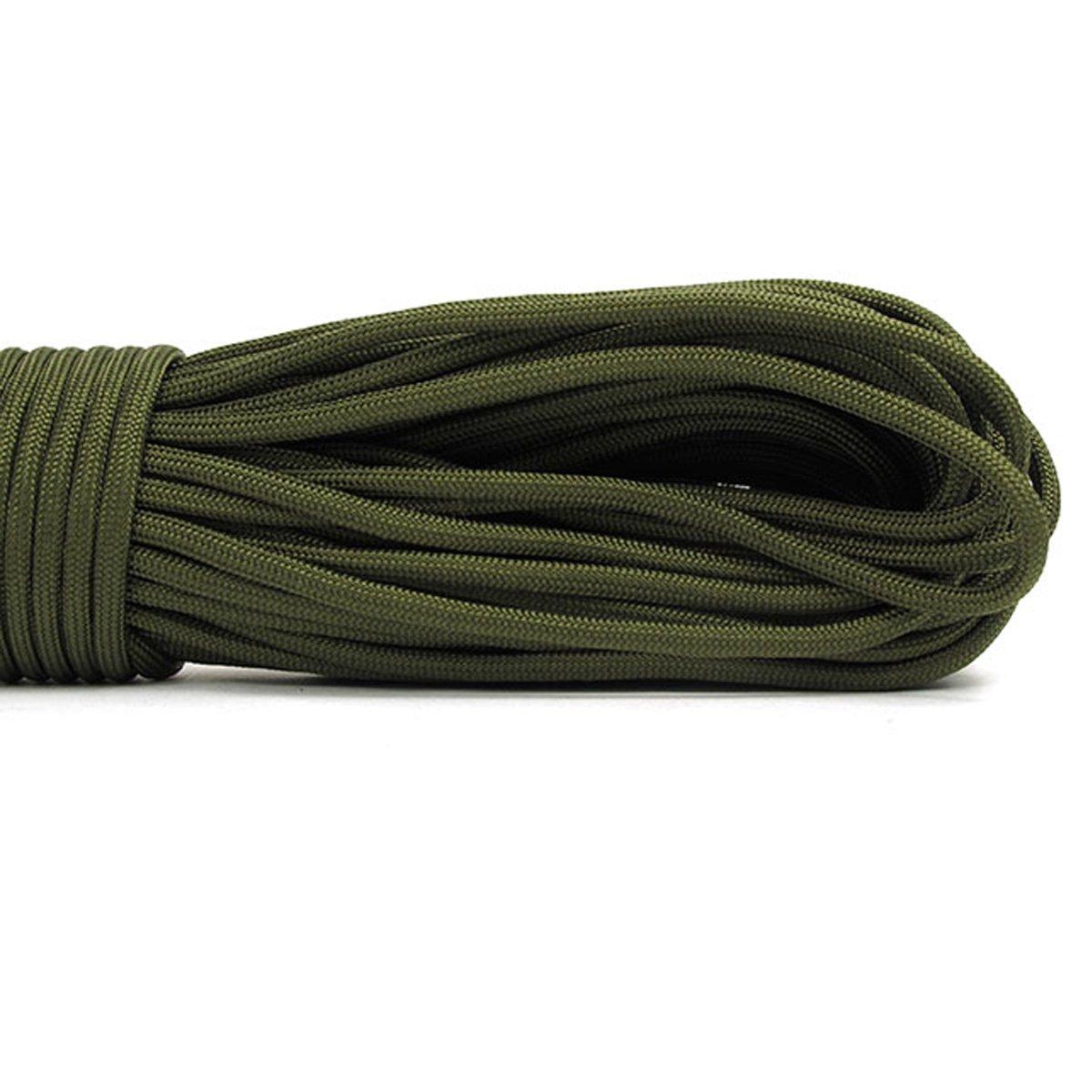 Cuerda de nailon para paracaídas, cuerda de supervivencia de 7 hilos, cuerda de paracaídas, cuerda para camping, senderismo, viajes, al aire libre y uso doméstico, pulsera trenzada con cordón 01# - Black QINGKONG