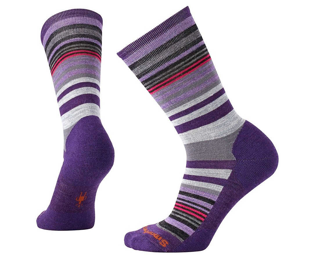 SmartWool Women's Jovian Stripe Socks (Mountain Purple Heather) Medium