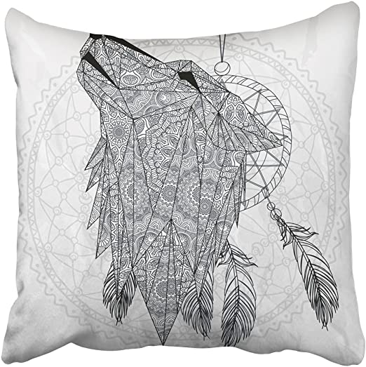 Wolf Decor Throw Pillow Case Flowers Feathers Square Cushion Cover 24 Inches