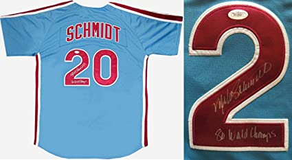 4e5ae08f Mike Schmidt Autographed Signed Ins 1980 World Champs M&N Phillies Jersey  Auto - JSA Authentic