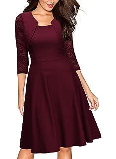 Miusol Casual Encaje Contraste Slim Vestido Corto para Mujer
