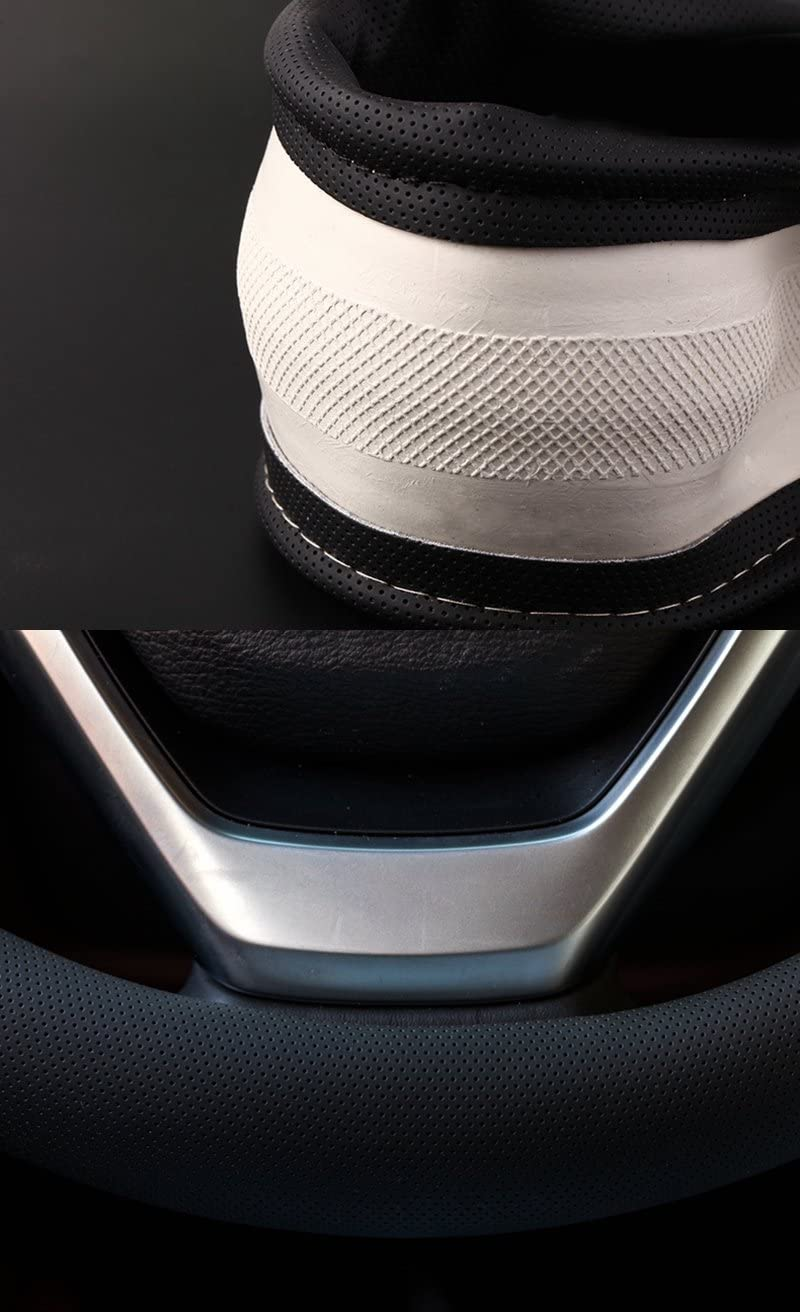 15 Leather Black HCMAX Microfiber Vehicle Steering Wheel Cover Quality Comfy Car Steering Wheel Protector Universal Diameter 38cm