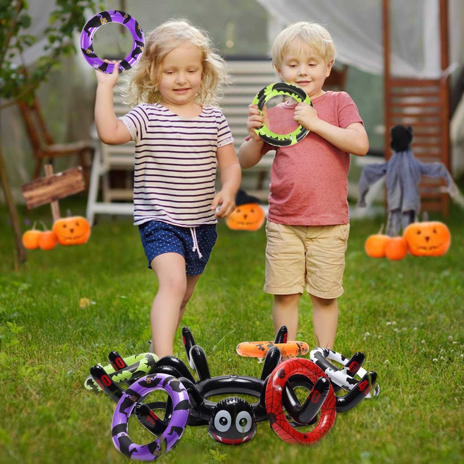 GROBRO7 Halloween Ring Toss Game for Party Inflatable Floating Swimming Ring Toss for Pool Party Favor Halloween Party Supplies Decoration for Kids Funny Family Games